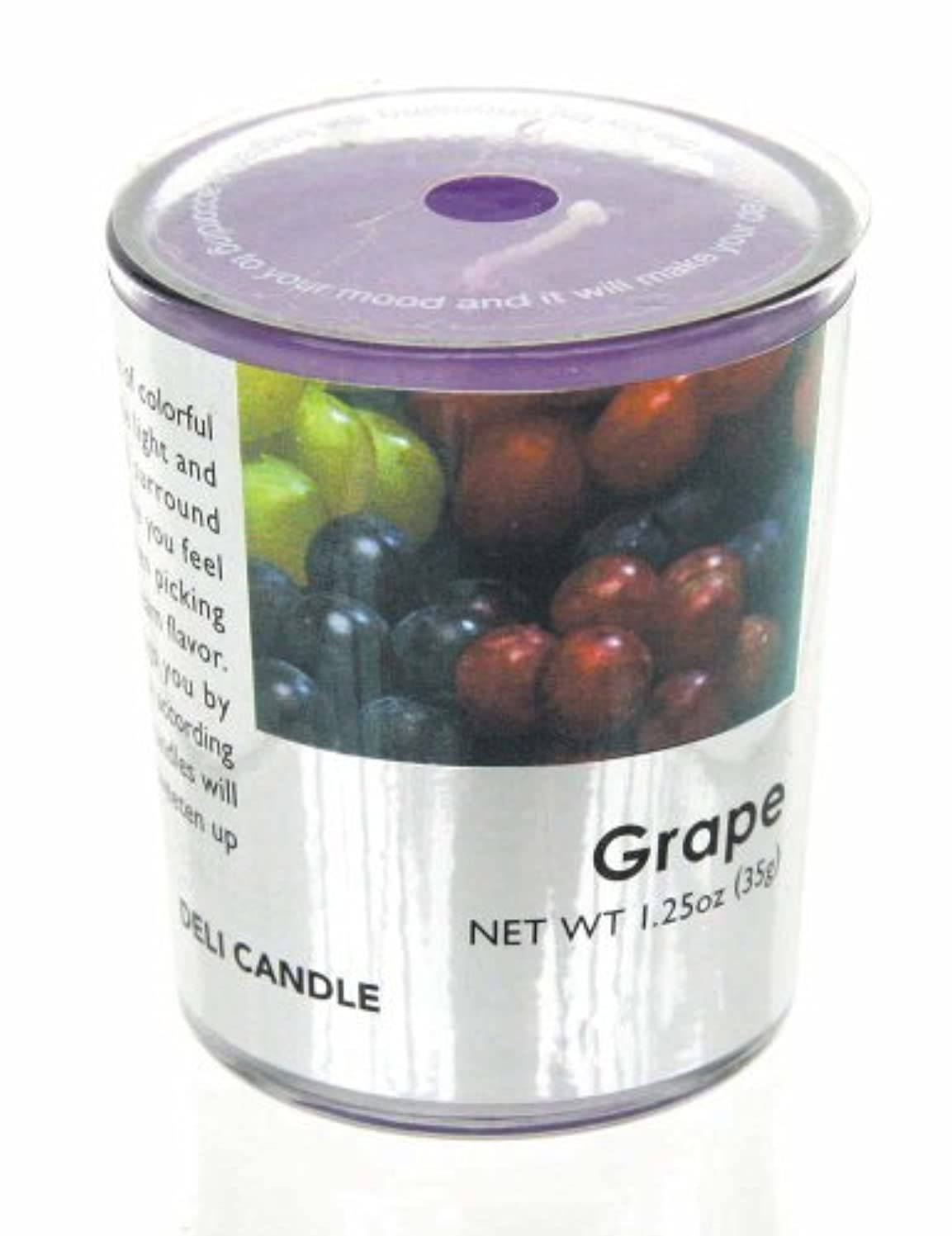 手書きベスビオ山セメントデリキャンドル グレープ 35g(フルーツの香りのろうそく 燃焼時間約10時間)