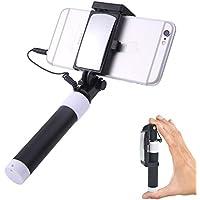 Doumall セルカ棒 iPhone専用自撮り棒 ミラー搭載 ライトニング接続 有線タイプ 伸縮自在(23.5~95cm)シャッターボタン付 ローズゴルドー