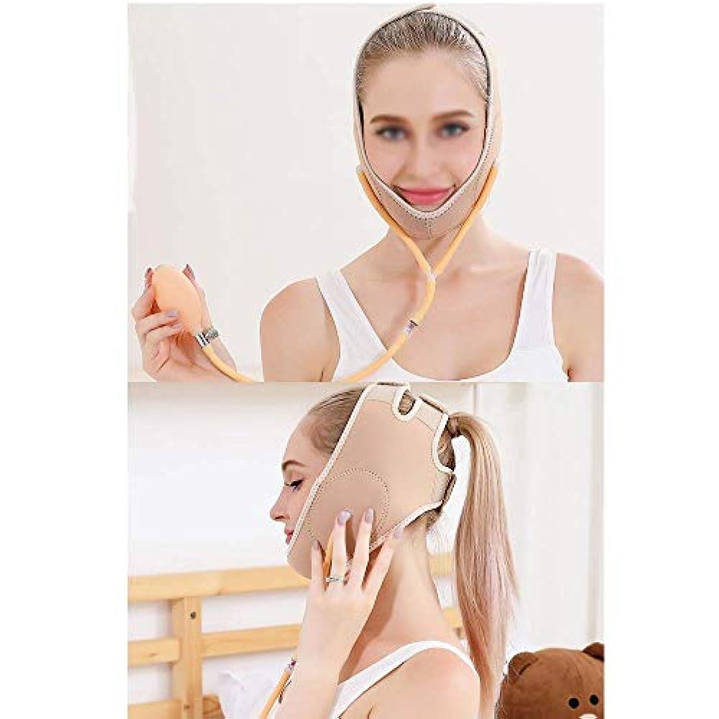 横無臭ポイントは二重あご、膨脹可能な顔の持ち上がる革紐、顔の持ち上がる包帯、減らされた二重あごの包帯(1つのサイズはすべてに合う)(色:ピンク)を効果的に改善する,黄色がかったピンク