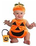 ハロウィン かわいい かぼちゃ の 着ぐるみ と かぼちゃ バケツ セット 70 サイズ (0 - 9ヶ月)赤ちゃん幼児用 カボチャ 南瓜