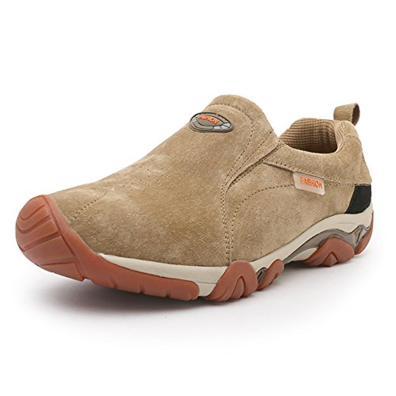 周波数カード一般的に[Easondea] ハイキングシューズ レザー 通気性 ウォーキングシューズ 防滑 カジュアル靴 アウトドア スニーカー