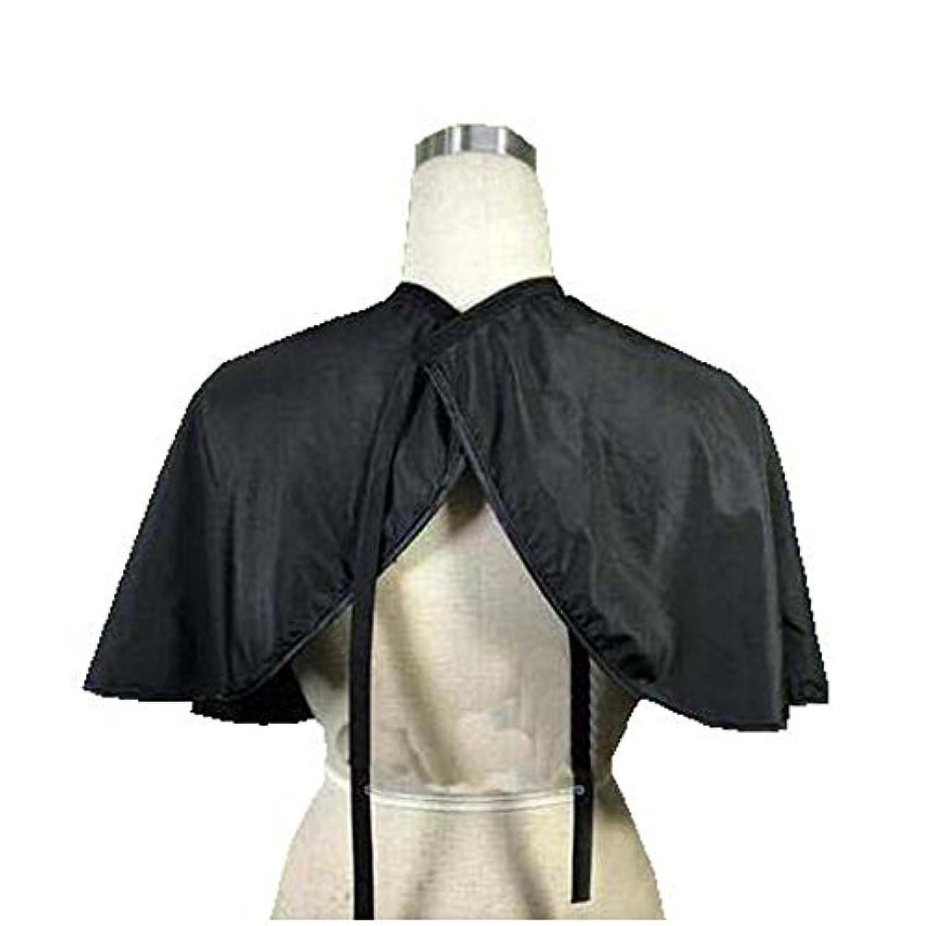 考慮カストディアンさようならビューティーサロンクライアントショートガウン防水着色色素ケープスモックベルト付き、黒
