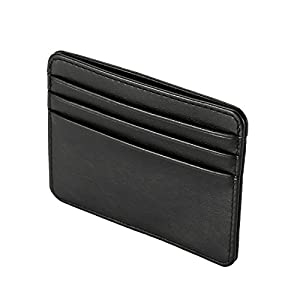 本革カードケース 定期入れ お札入れ クレジットカード 身分証明書 財布 ウォレット 薄型 カードケース ブラック(ブラック)