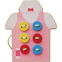 Lovoski 木製 子供  ボードとビーズ  ボタン スレッディング ゲーム  教育玩具 ギフト 全2色選べ - ピンク