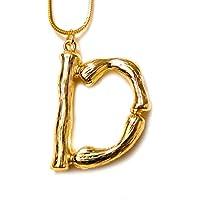 Dolovely 26 3D Letter Charm Bamboo Pendants Initial Necklace for Women Men Girls Gold Plated Snake Chain