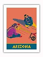 アリゾナ州 - ホピインディアンズの砂の絵 - サンタフェ鉄道 - ビンテージな鉄道旅行のポスター c.1940s - プレミアム290gsmジークレーアートプリント - 30.5cm x 41cm