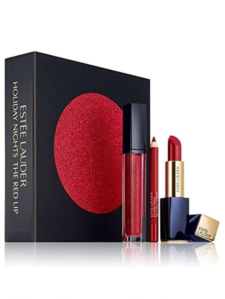 ホステルスープハードESTEE LAUDER エスティーローダー メイクアップ リップスティック セット Estee Lauder 3?pc. Holiday Nights The Red Lip Gift Set レッド [並行輸入品]