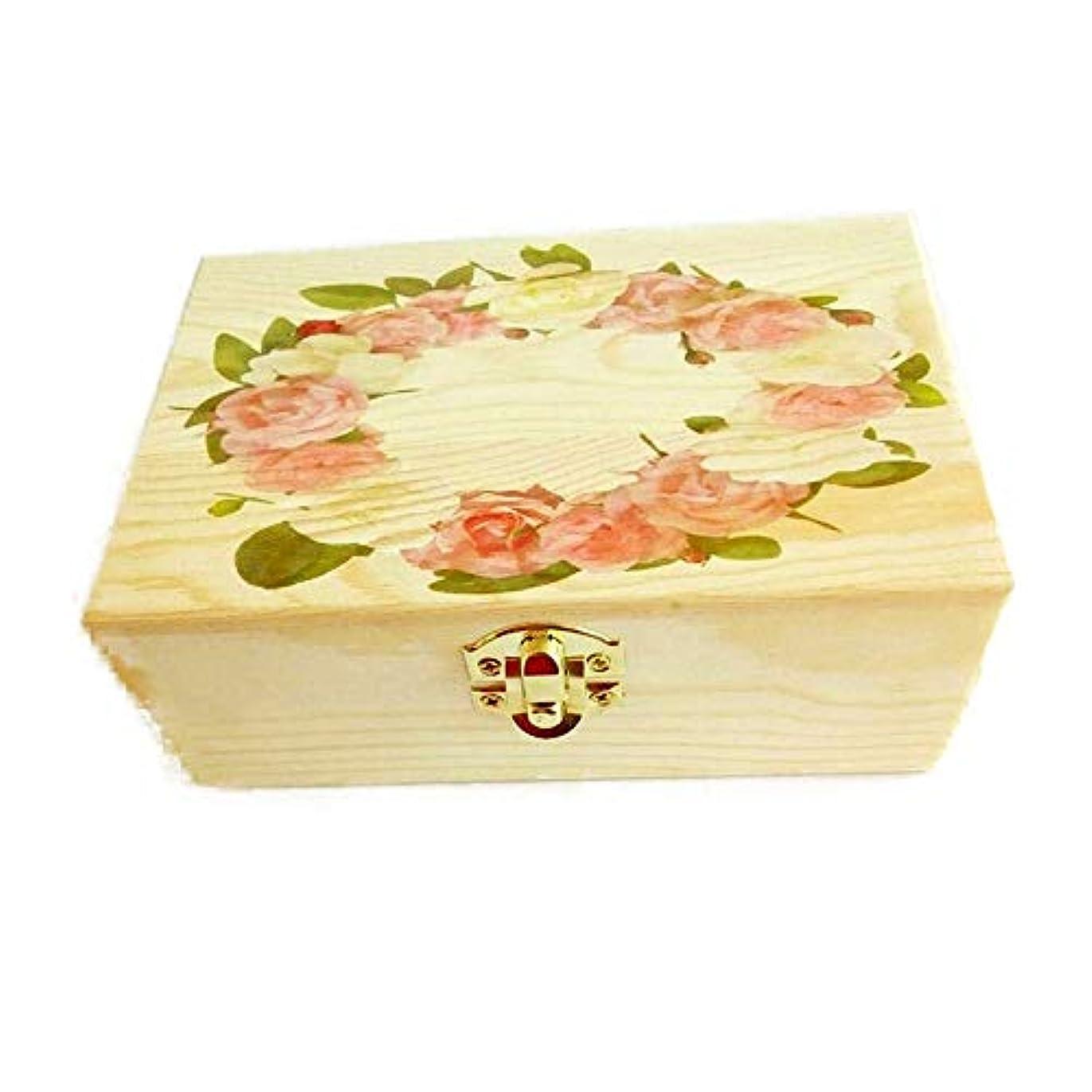 人物薬用ウィンクキャリングそしてホームストレージ表示のための木製のエッセンシャルオイルストレージボックスオーガナイザー アロマセラピー製品 (色 : Natural, サイズ : 15.5X10.5X5.5CM)
