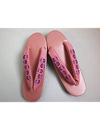 着物&卒業式袴に はんなり草履ぞうりピンク台刺繍鼻緒華紋様