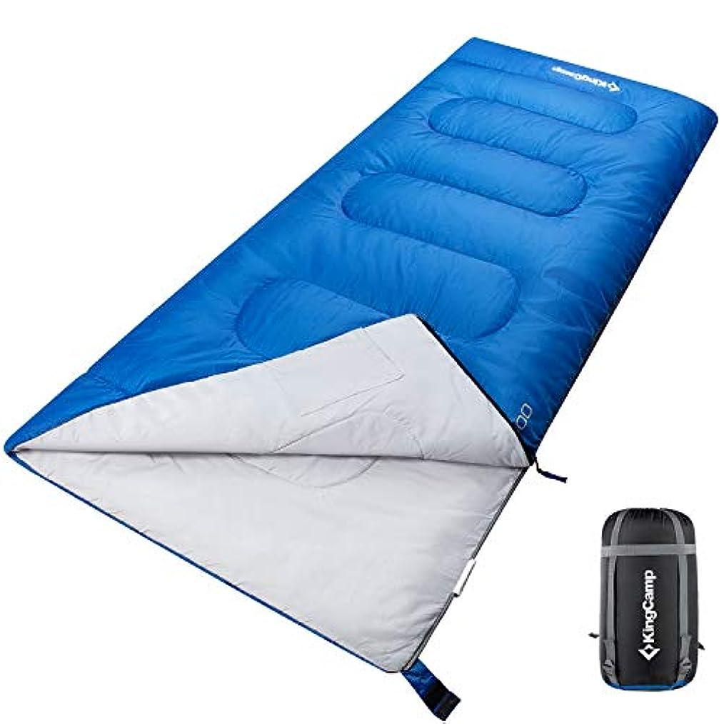 必要ない終わった容疑者KingCamp 封筒型 寝袋 軽量 ワイドサイズ 190×80cm シュラフ 連結可能 最低使用温度-12℃ 収納袋付き アウトドア 登山 車中泊 KS3144 (ブルー, 190×80cm)