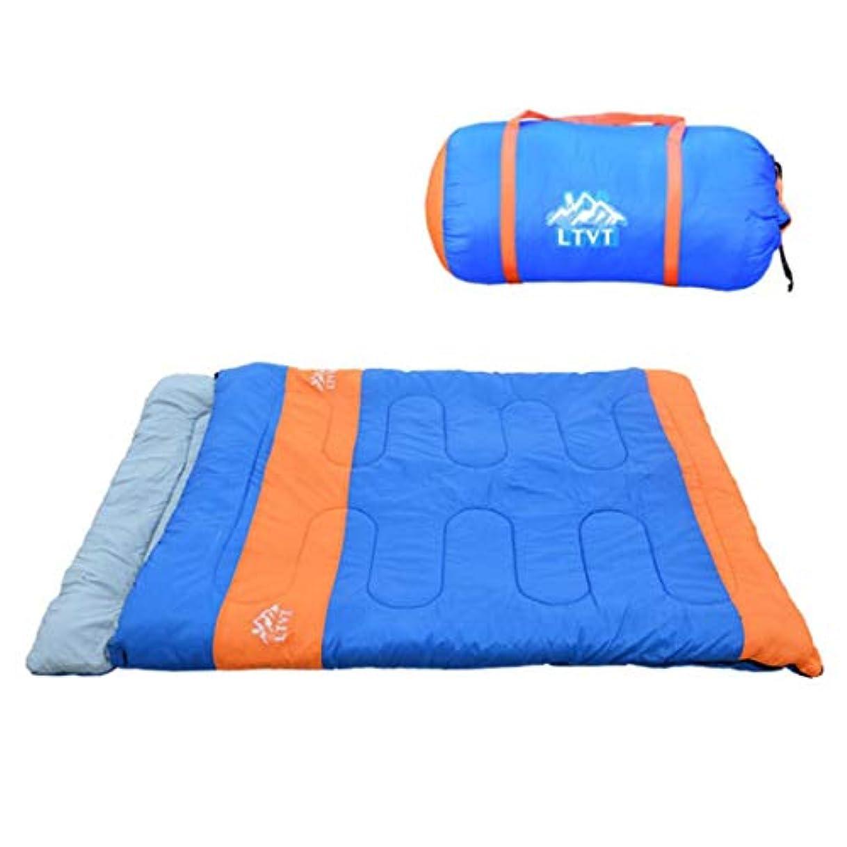 球状彫刻絞るYIJUPIN 屋外多機能2人寝袋 (色 : 青)