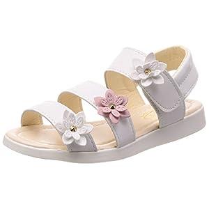 (チェリーレッド) CherryRed 子供靴 女の子 お嬢様 ジュニア 歩きやすい ビーチサンダル 柔らかい 真夏靴 かわいい 小さいサイズ 大きいサイズ お花 37 ホワイト