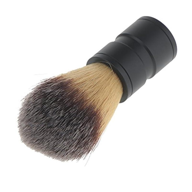 一人で補助気晴らしchiwanji 男性のためのファッションひげ剃りブラシナイロンヘア合金ハンドルバーバーツール - ブラックハンドル