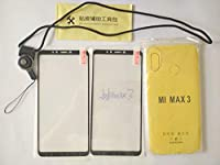 CYTT Xiaomi Max 3強化ガラススクリーンプロテクター (2パック) + 透明TPUケース + ストラップ Xiaomi Max 3用 ブラック
