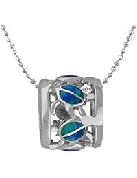 [ハワイアンジュエリー]Hawaiian Silver Jewelry タル型 (バレル) ×ホヌ (亀) 人工オパール チェーン付きネックレス ロジウム加工 シルバー925[インポート]
