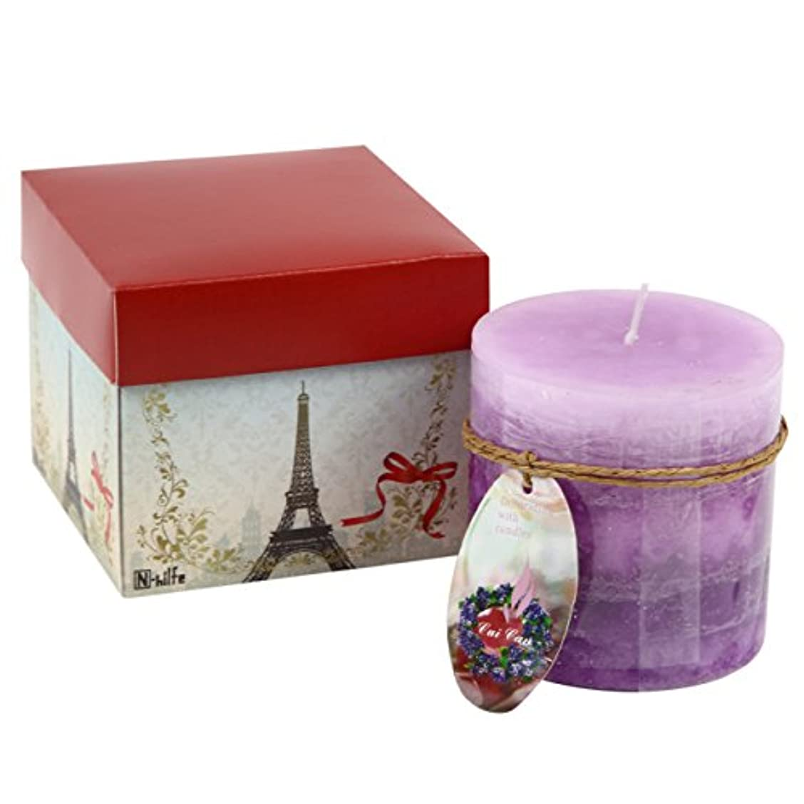 N-hilfe キャンドル 7.5x7.5cm 蝋燭 アロマキャンドル (パープル,紫)