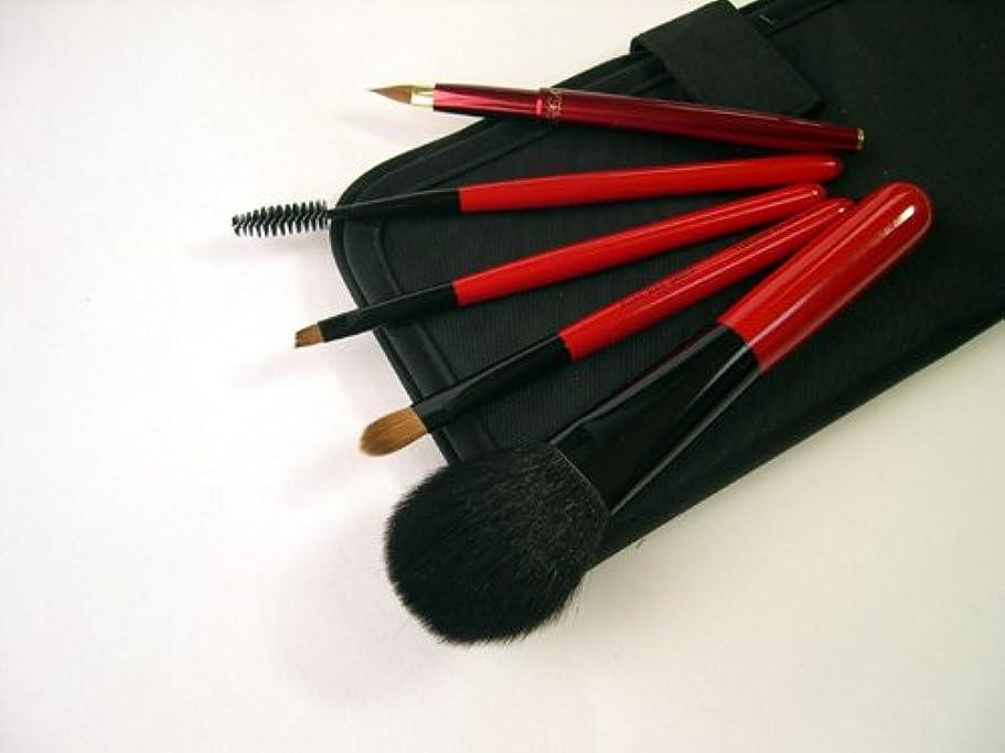 スキャンダラスピアニストアプト竹田ブラシ製作所 赤椿化粧筆(赤塗木軸)5本セット 簡易ケース付