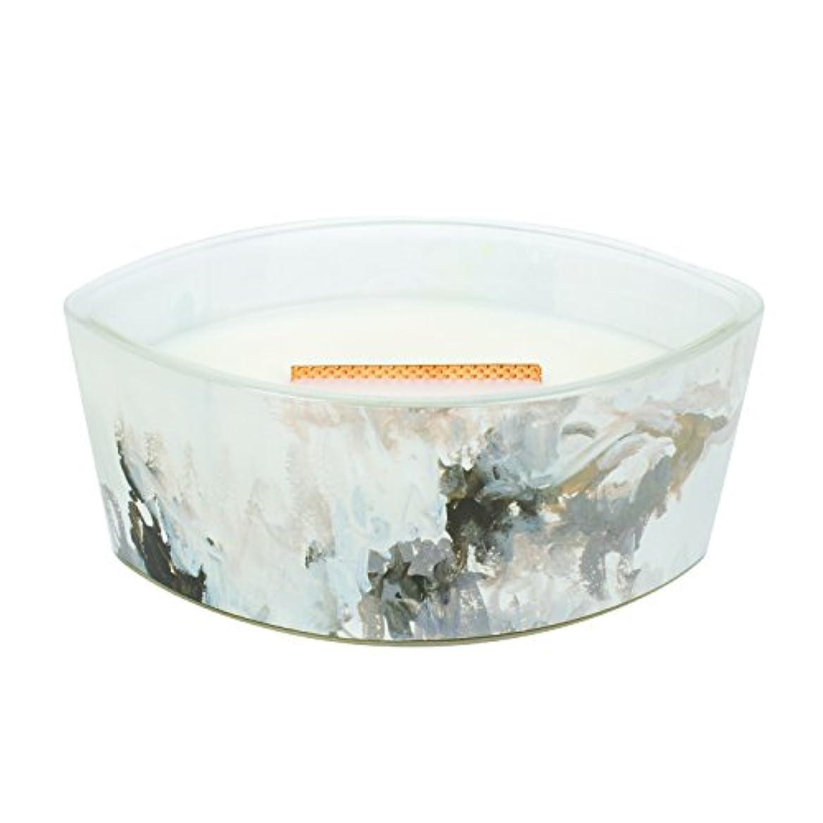 一方、指紋しなやかなHoney Tabac – アーティザンコレクション楕円WoodWick香りつきJar Candle