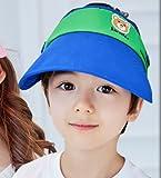 バイザー キッズ 女児 男児 ピンク 水色 ブルー 日よけ UVカット 紫外線対策 かわいい サイズ調整可 通気性 吸湿性 お出掛け 熱中症対策 (青)