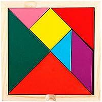 wenasi建物ブロックパズル、木製カラフル図形Jigsawパズルタングラム教育玩具