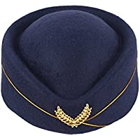 BESTOYARD Stewardess Hat Wool Cap Flight Attendant Hat Stewardess Cap for Costume Cosplay Costume Accessories (Navy Blue
