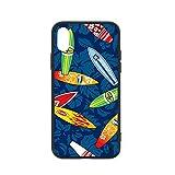 stock-vector-surfboard-hibiscus-pattern-seamless-191951723サーフィンサンゴのビロード iPhone XSカバーTPUソフトシェルガラス電話ケース防滴指紋防止アンチイエロー滑り止め電話ケースブラック