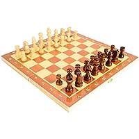 木製 チェスセット 折りたたみ式 30 * 30cm 携帯型 チェス盤 チェス駒セット 旅行ゲーム 知能開発 家族活動 プレゼント