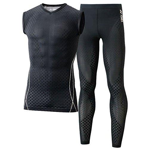 [해외]요넥스 (YONEX) 민소매 셔츠 & 롱 스패츠 상하 세트 (블랙   블랙) STBP1012-007-STBP2008-007/YONEX (YONEX) Sleeveless shirt & long spats upper and lower set (black   black) STBP1012-007-STBP2008-007