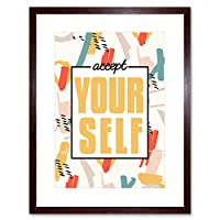 Funky Affirmation Accept Yourself Art Print Framed Poster Wall Decor 9x7 inch ポスター壁デコ