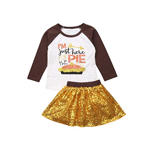 Dcohmch Infant Baby Girl Halloween Clothes Set Pumpkin Shirt Top + Skirt with Headband Outfits Toddler Kids Clothing - Yellow - 1-2Y