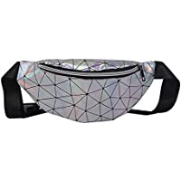 Fanny Holographic Pack for Women, Morbuy Shiny Festival Rave Bumbags PU Leather Waterproof Waist Pouch with Adjustable Belt Shoulder Bag for Ladies Travel Sports Party Hiking
