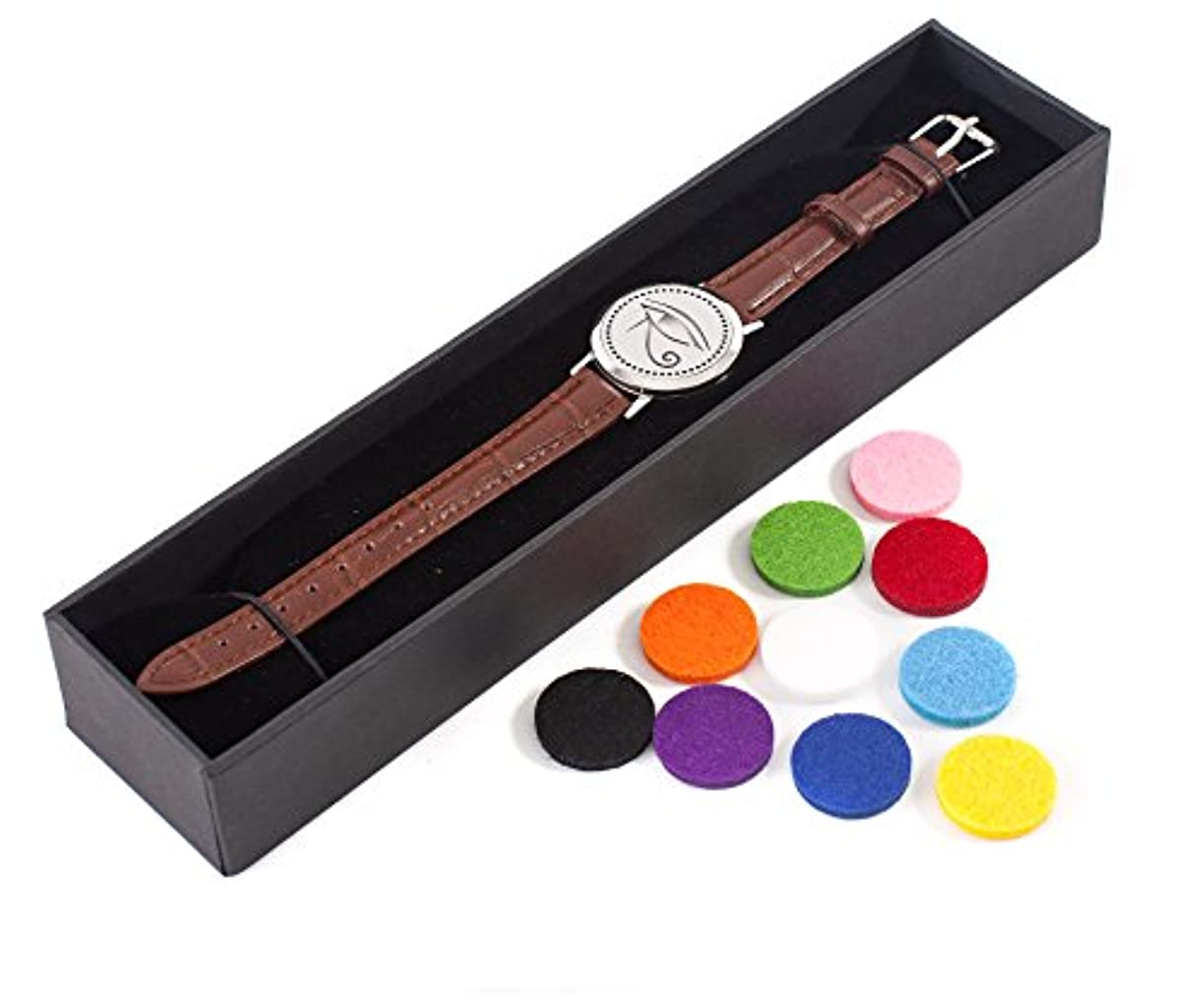 リテラシーランチョン記事Mystic Moments | Eye of Horus | Aromatherapy Oil Diffuser Bracelet with Adjustable Brown Leather Strap