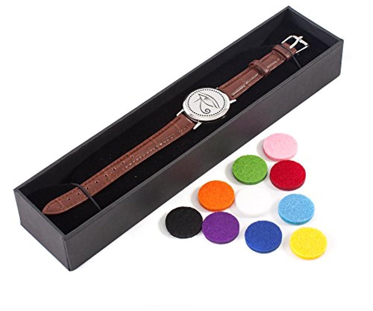 素子優しい資本Mystic Moments   Eye of Horus   Aromatherapy Oil Diffuser Bracelet with Adjustable Brown Leather Strap