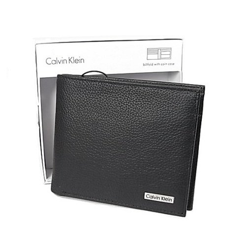 カルバンクライン Calvin Klein 二つ折り 財布 カーフ メンズ ブラック 79215