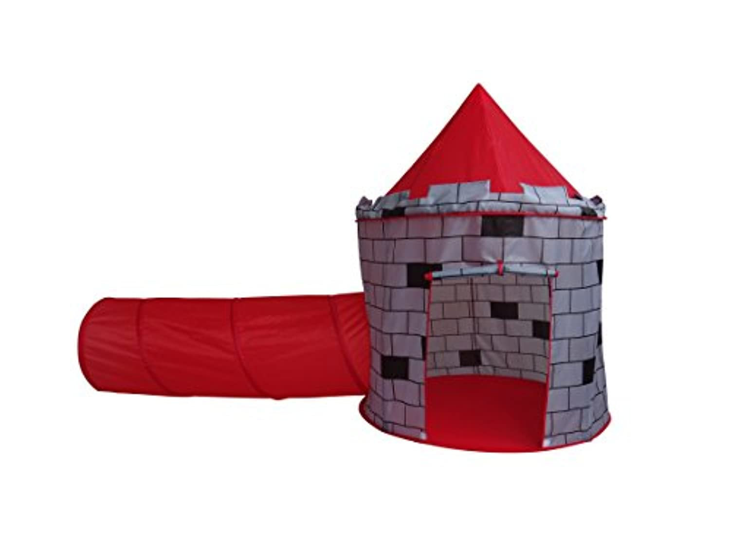 Play Kreative Red Knights Castle Tent with Crawling Tunnel and Carry Case. Portable Foldable pop up Knights Castle Playhouse for indoor/outdoor Kids fun activities. Great Birthday Gift for Girl or Boy