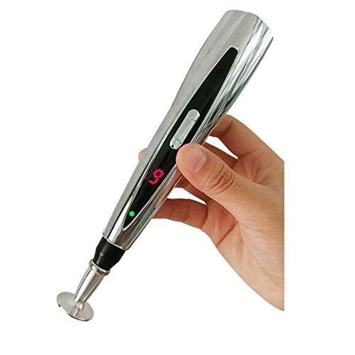 安定した政策細分化する電子鍼ペン/ポータブル電気経絡エネルギーペン/多機能レーザー鍼マッサージペン、ボディマッサージャー痛み緩和療法機器 (色 : Silver)