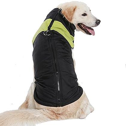 ベット秋冬衣装 犬猫の冬服防寒 雪対策 防水ジャケット中綿コート散歩服 綿服アウター Tシャツ トップスドッグウェア大型犬/中型犬グリーン