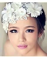【ノーブランド品】お花とパールでかれんな花嫁 ウェディング ヘッドドレス パールアクセサリー セット 和装にも