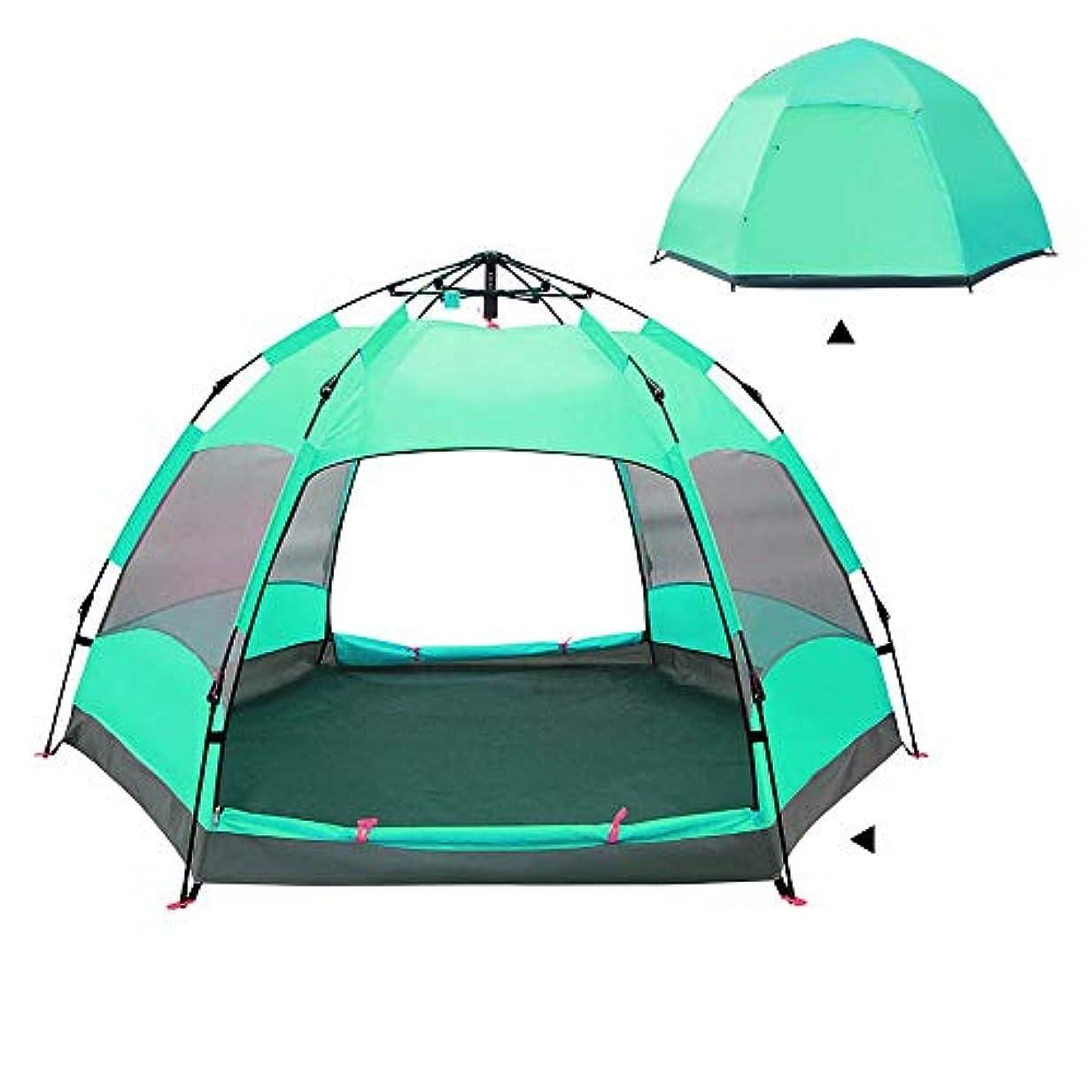 ハミングバードメロドラマムスタチオMeet now 自動ポップアップキャンプテントポータブル3?5人家族のテント防水ダブルドアベントネットウィンドウ - 理想的なシェルターキャンプハイキング野外活動防水と抗UV折りたたみ防水通気性屋外テント 品質保証 (Color : Green)