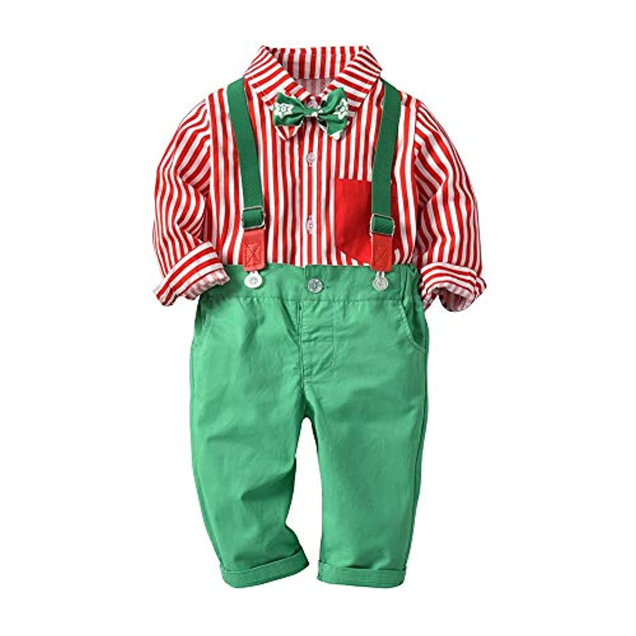 熱意きゅうり送るベイビーボーイ衣装セット キッズボーイズ紳士衣装ロングスリーブシャツサスペンダーボウタイ紳士オーバーオール衣装2点セット 可愛い (サイズ : 80, Style : Pink shirt+Green Overalls)