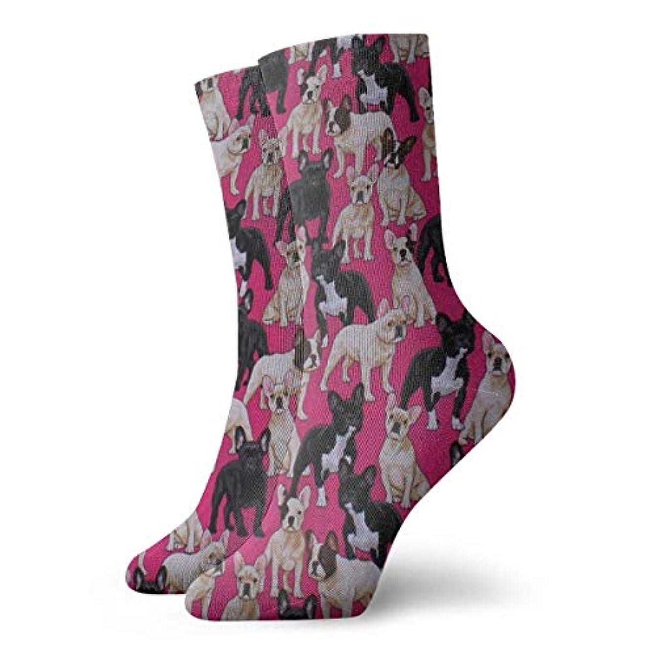 狂人復活させる出席するストックフォト- QRRIYレディースフレンチブルドッグ犬ペットソフトクリスマス膝高ストッキングスリッパソックス、クリスマス楽しいカラフルな靴下