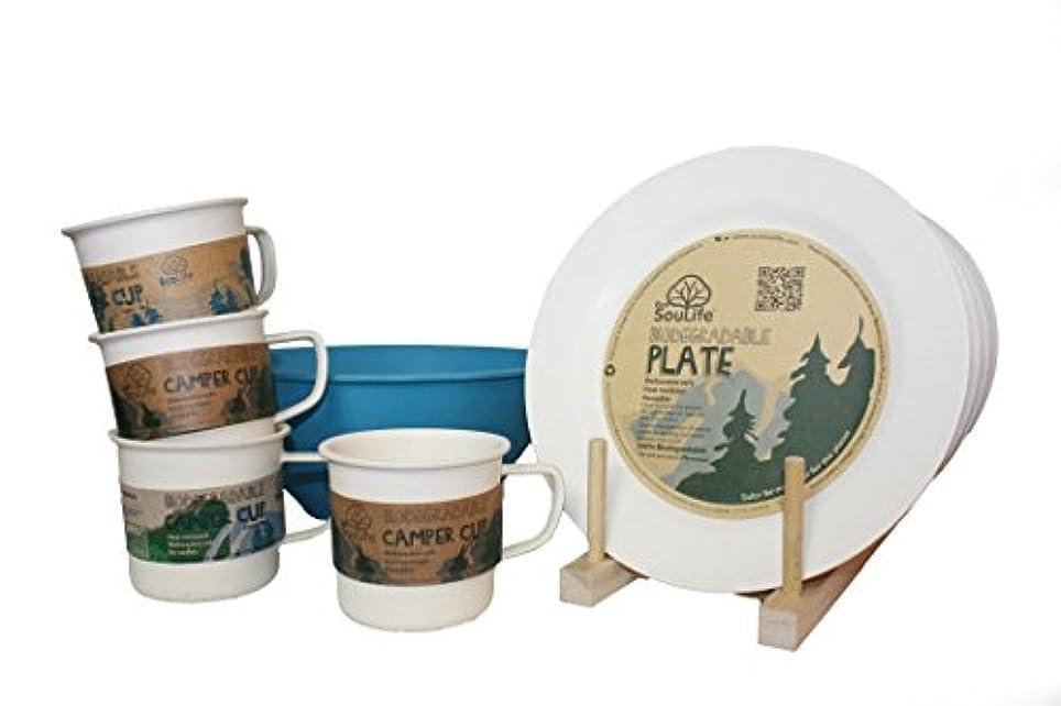 一般化するビーチ出版Ecosoulife生分解性Eco Dineセット – ( 4 xプレート、4 xカップ、1 xボウル)