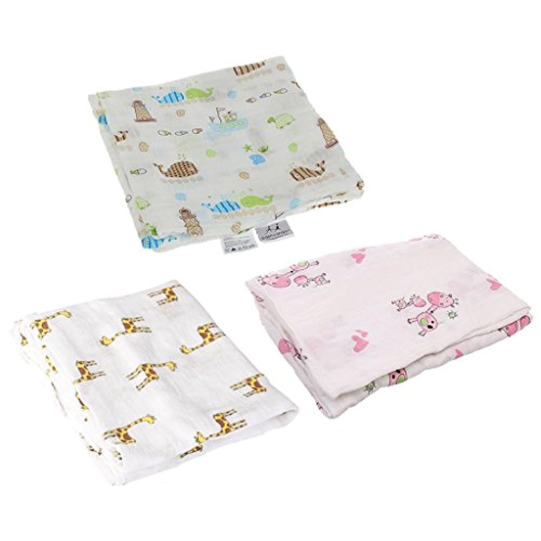 SONONIA 3枚入り モスリン 綿 新生児 ブランケット 毛布 バスタオル おくるみ 快適 動物パタン