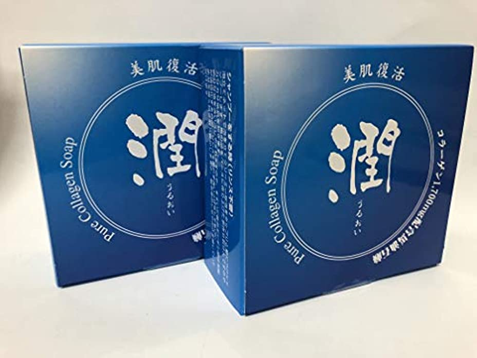 実験的申し立て分注するコラーゲン馬油石鹸 潤 2個セット 無添加 無着色 無香料 コラーゲン コラーゲン1250g配合 ナチュラルソープ 馬油配合 天然成分
