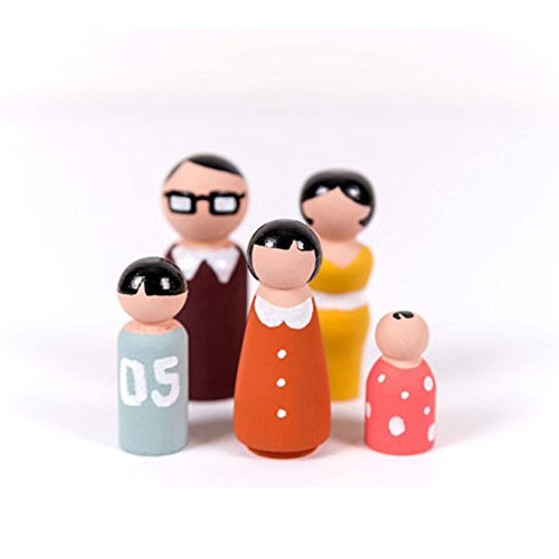 Mosichi 5個/セット 未塗装 ブランク 木製 家族 ペグ人形 DIY ハンドメイド ウェディング装飾 DHMY5D78OV2Y1T2NBV8EGOAI7
