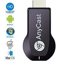 AnyCast ドングルレシーバー MiraScreen ミラーリング HDTV 1080P HDMIWiFiディスプレイ ワイヤレス Wi-Fi iOS Android Windows MAC OSシステムに通用 CE RoHS認証 日本語説明書付き