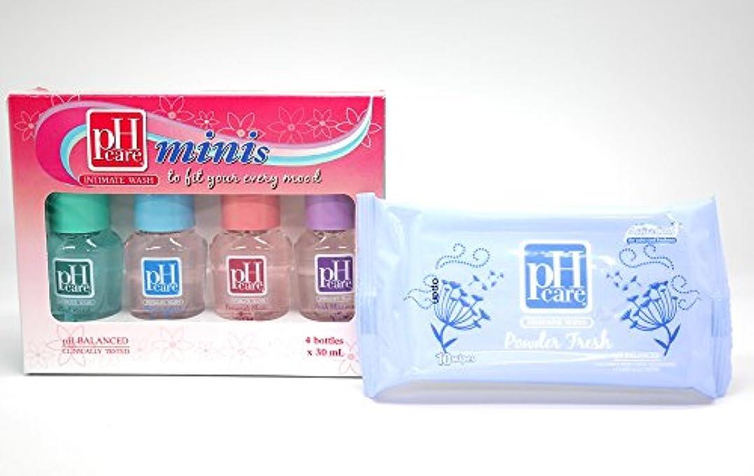 成熟鎖認識(ピーエイチケア)pHcare フェミニンウォッシュ (ミニボトル4本 + シート(パウダーフレッシュ))