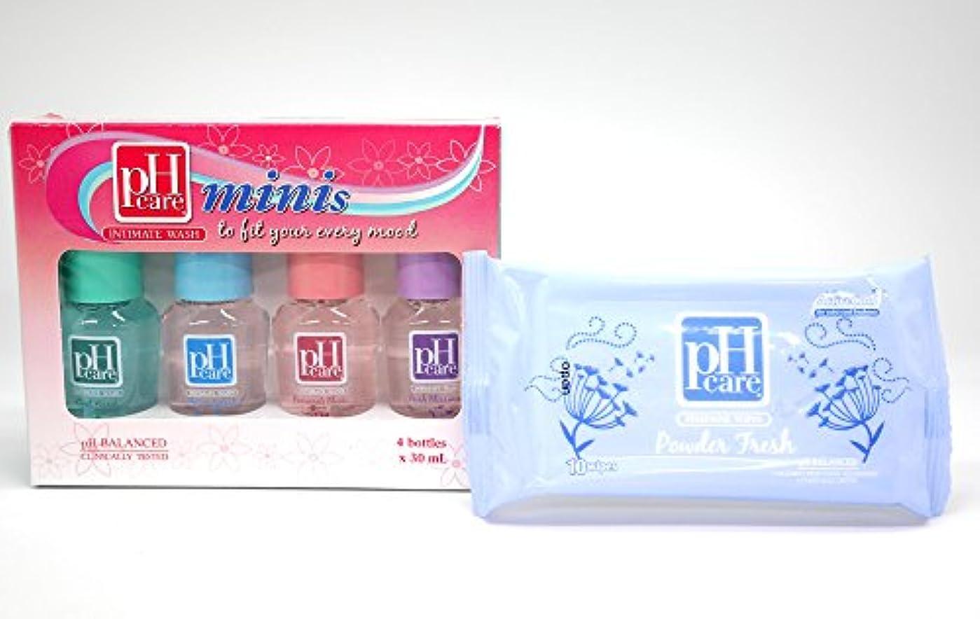 ホバー病者原稿(ピーエイチケア)pHcare フェミニンウォッシュ (ミニボトル4本 + シート(パウダーフレッシュ))