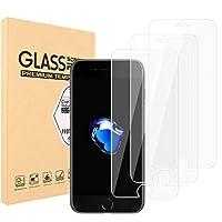 iPhone 7液晶保護 3Dタッチ対応、 iPhone 8 ガラスフイルム【3枚セット】最大硬度9H/高透過率/自動吸着/HDカーブLCD保護フィルムアンチコリジョン指紋保護/全面フルカバー 4.7インチ