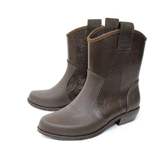 チョコLLサイズ (charming) M(23cm)~LL(24.5cm) 日本製 ラバーブーツ ウエスタン ペイズリー レインショートブーツ 防水 雨靴 ガーデンシューズ ペタンコブーツ ラバーブーツ (全6色)